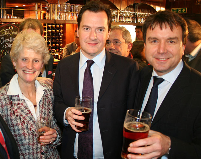 Brigid Simmonds OBE (Chief Exec, British Beer and Pub Association & campaign 'heroine'), The Chancellor, George Osborne, Andrew Griffiths MP (Cons) Chairman of the All Party Parliamentary Beer Group & campaign 'hero'