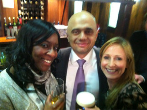Fuzzy snap of me with Sajid Javid (Treasury Minister, Cons MP for Bromsgrove) & Suzy Jackson (Director of the Hospitality Guild)