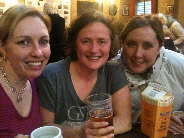 Michelle, Emma & Becky (left-right) in The Wellington Pub, Birmingham