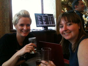 I met new chums, Lucy (beer lover) & Sarah (cider lover) who were having a meeting. A likely story, Ladies!